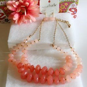 New! Chunky Boho Coral Multi Strand Necklace Set